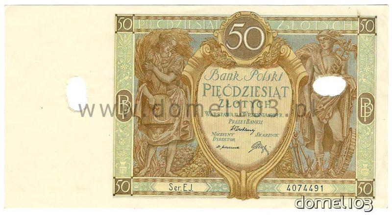 Banknot 50 złotych 1929 skasowany perforacjami