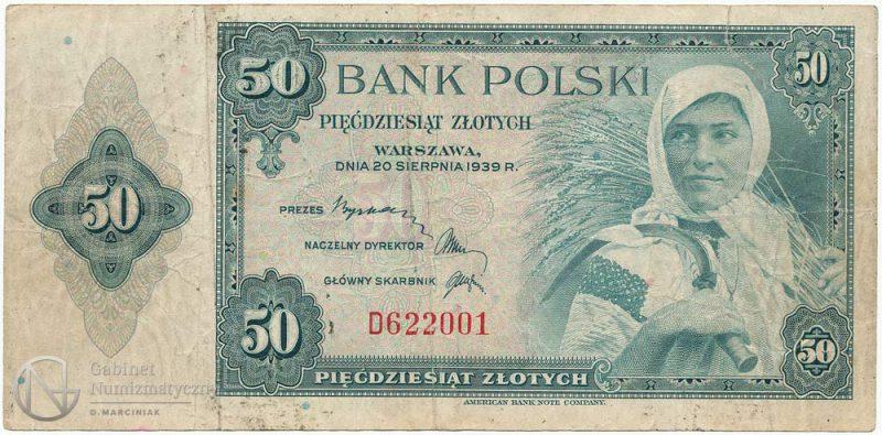 Awers banknotu 50 złotych 1939
