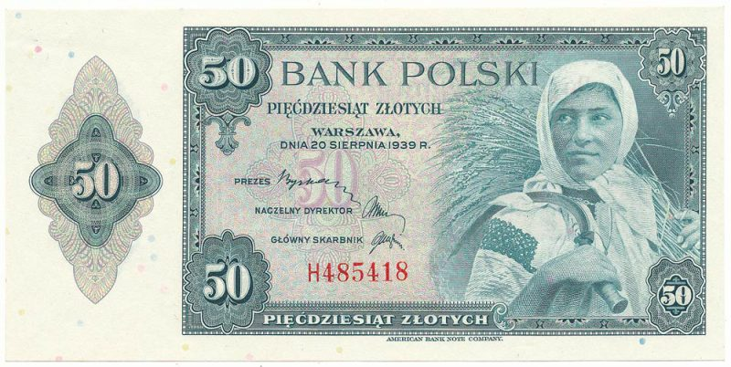 Awers finalnej wersji banknotu 50 złotych 1939 z postacią kobiety z projektu banknotu 5 złotych