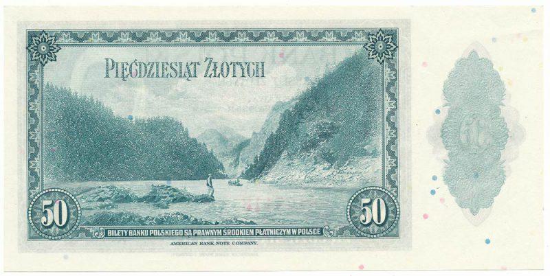 Rewers finalnej wersji banknotu 50 złotych 1939 z postacią kobiety z banknotu 5 złotych