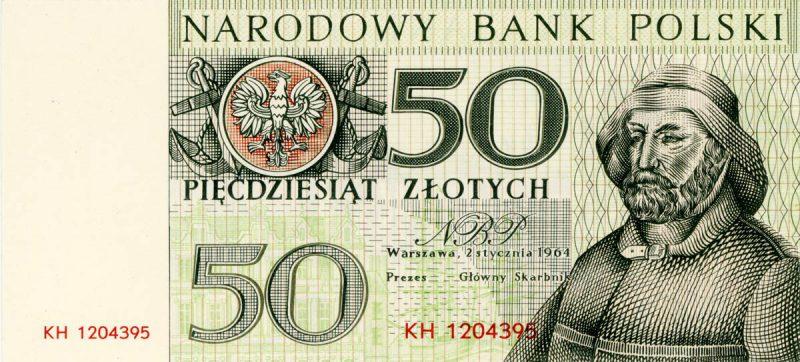 Awers banknotu 50 złotych 1964 z serii Miasta Polskie wersja 1