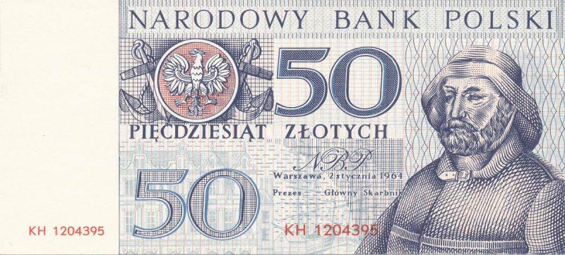 Awers banknotu 50 złotych 1964 z serii Miasta Polskie wersja 2