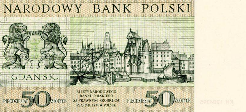 Rewers banknotu 50 złotych 1964 z serii Miasta Polskie wersja 1