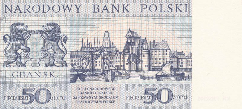 Rewers banknotu 50 złotych 1964 z serii Miasta Polskie wersja 2