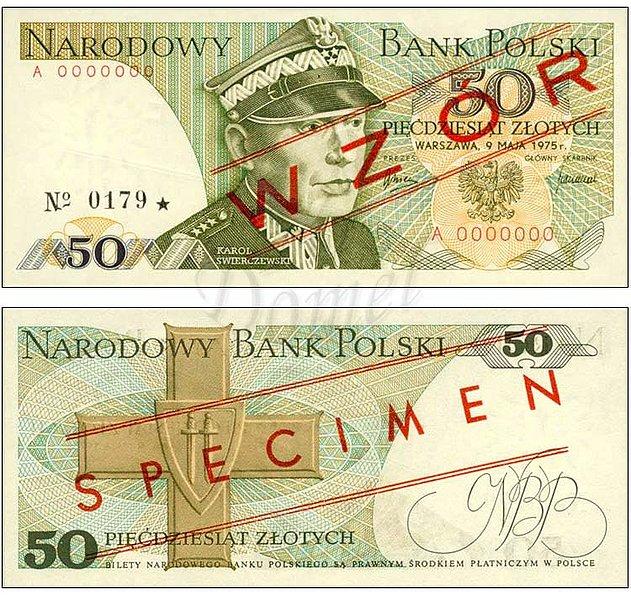 Wzór 50 złotych 1975 z Karolem Świerczewskim