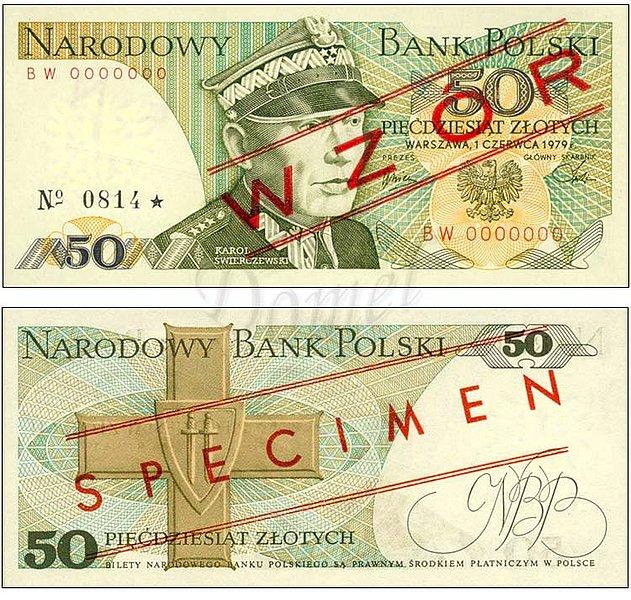 Wzór 50 złotych 1979 z Karolem Świerczewskim