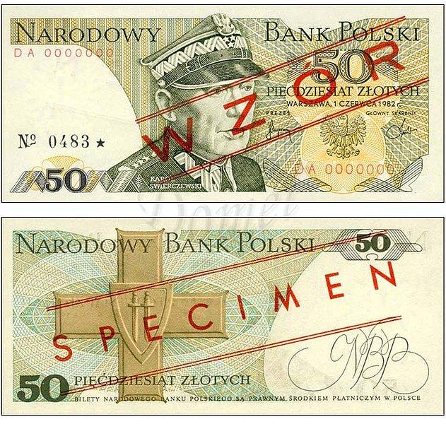 Wzór 50 złotych 1982 z Karolem Świerczewskim