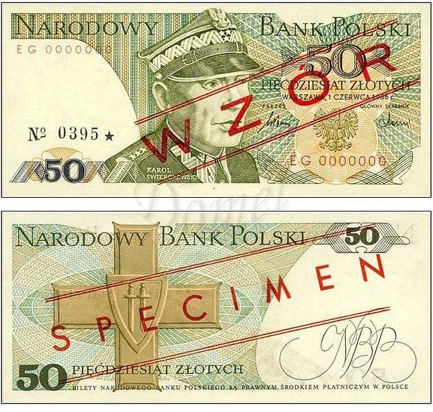 Wzór 50 złotych 1986 z Karolem Świerczewskim