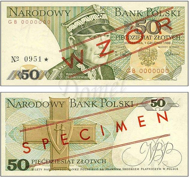 Wzór 50 złotych 1988 z Karolem Świerczewskim
