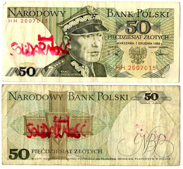 50 złotych 1988 ze stemplem Solidarność