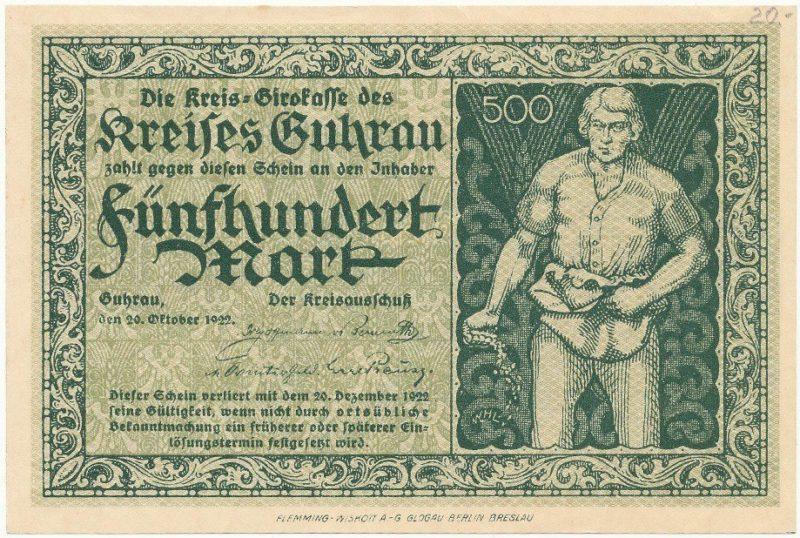 Notgeld 500 marek 1922 powiatu Góry