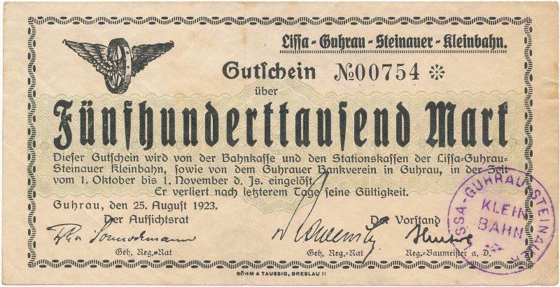 Notgeld 500 tysięcy marek 1923 kasy stacji kolei wąskotorowej w Górze