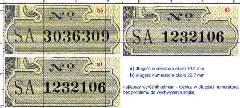 Wymiary numeratorów na odmianach a i b banknotu 500 złotych 1919