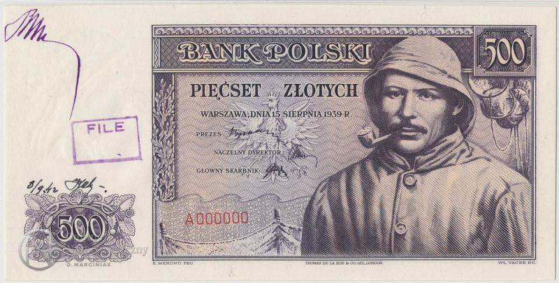 Awers finalnej wersji banknotu 500 złotych 1939 jako wzór akceptacyjny z numeracją zerową stemplem i podpisem