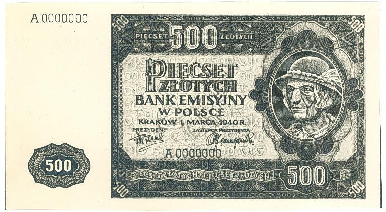 Fotokopia awersu banknotu 500 złotych 1940