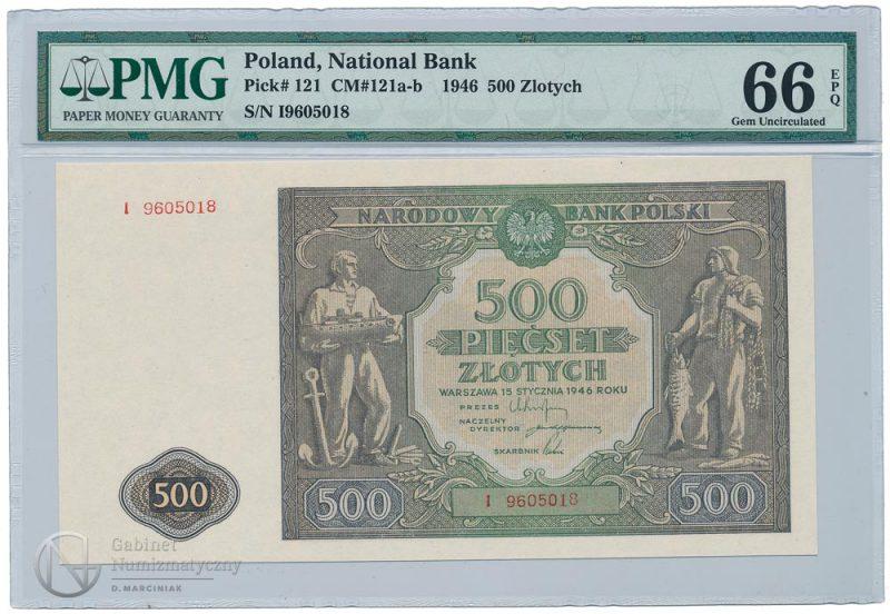 Awers banknotu 500 złotych 1946 w ocenie PMG 66 EPQ
