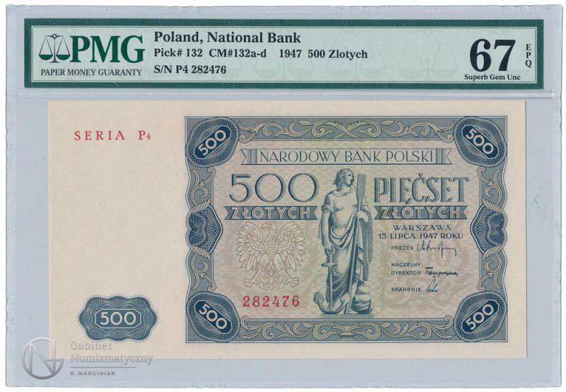 Awers banknotu 500 złotych 1947 w ocenie PMG 67 EPQ