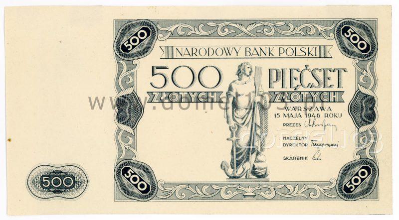 Banknot 500 złotych 1947 z datą 1946
