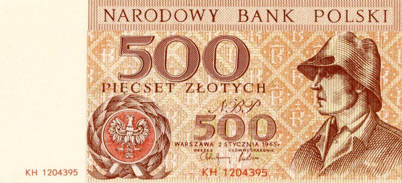 Awers banknotu 500 złotych 1965 z serii Miasta Polskie wersja 1