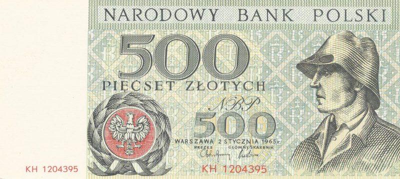 Awers banknotu 500 złotych 1965 z serii Miasta Polskie wersja 2