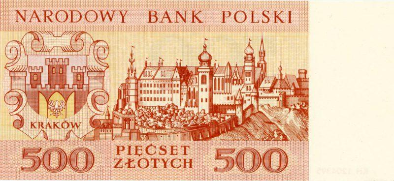Rewers banknotu 500 złotych 1965 z serii Miasta Polskie wersja 1