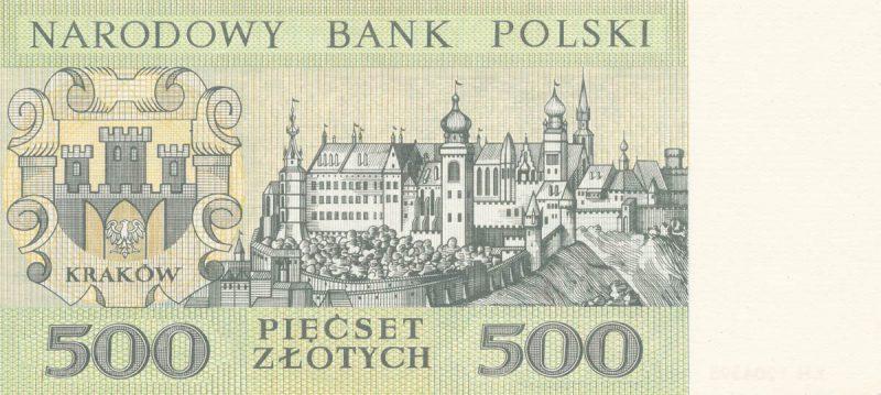 Rewers banknotu 500 złotych 1965 z serii Miasta Polskie wersja 2