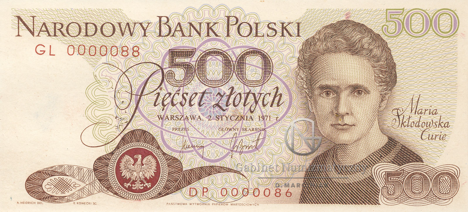 Awers projektu banknotu 500 złotych 1971 z Marią Skłodowską-Curie