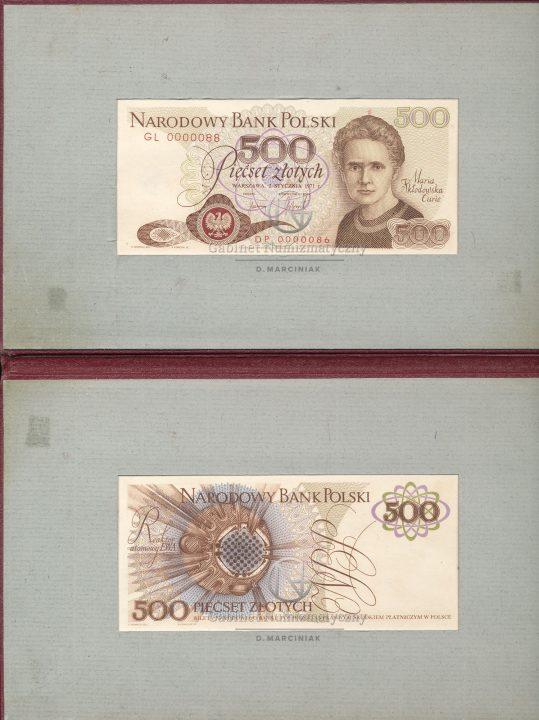 Zdjęcie folderu prezentacyjnego banknotu 500 złotych 1971 z Marią Skłodowską-Curie