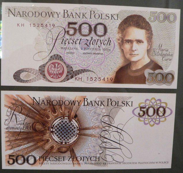 Kopia projektu banknotu 500 złotych 1971 z Marią Skłodowską-Curie z wystawy NBP