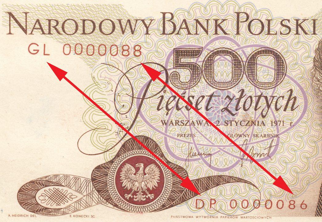 Dwie różne serie i numeracje 500 złotych 1971 z Marią Skłodowską-Curie