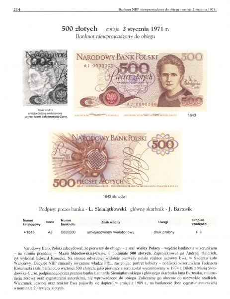 Banknot 500 złotych 1971 z Marią Skłodowską-Curie opisany w katalogu Lucow Tom VI