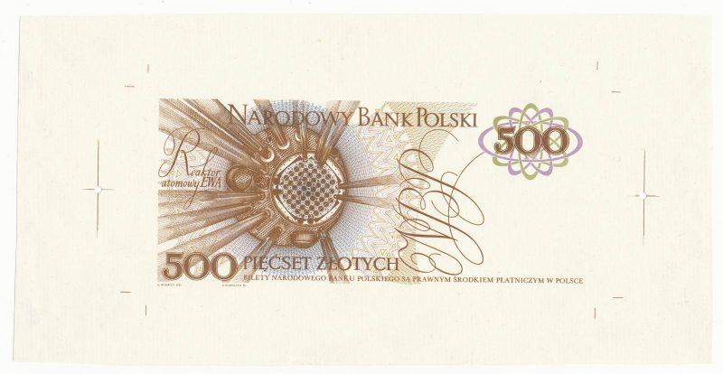 Wydruk jednostronny rewersu banknotu 500 złotych 1971 z Marią Skłodowską-Curie z zachowanymi marginesami