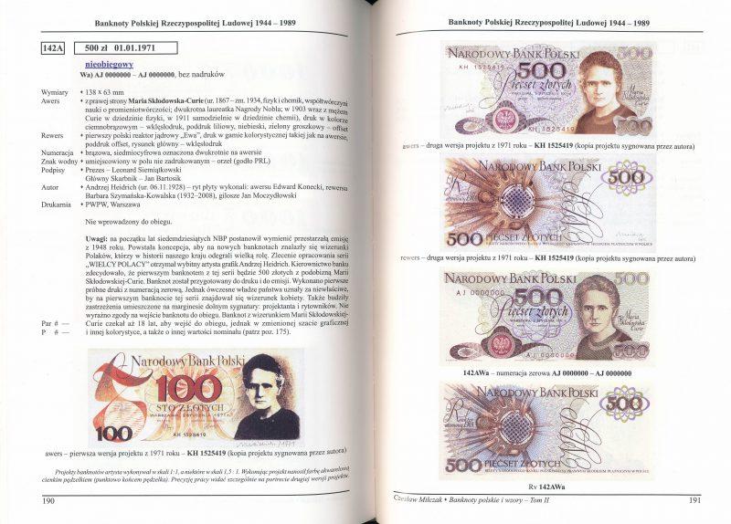 Strona o banknocie 500 złotych 1971 z Marią Skłodowską-Curie z katalogu Czesława Miłczaka