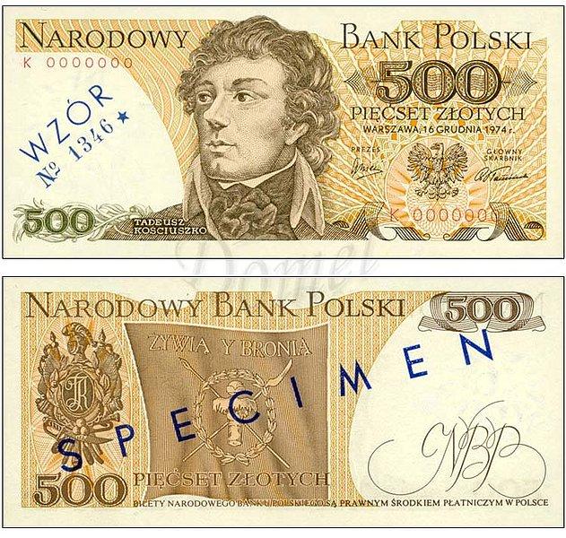 Wzór 500 złotych 1974 z Tadeuszem Kościuszko