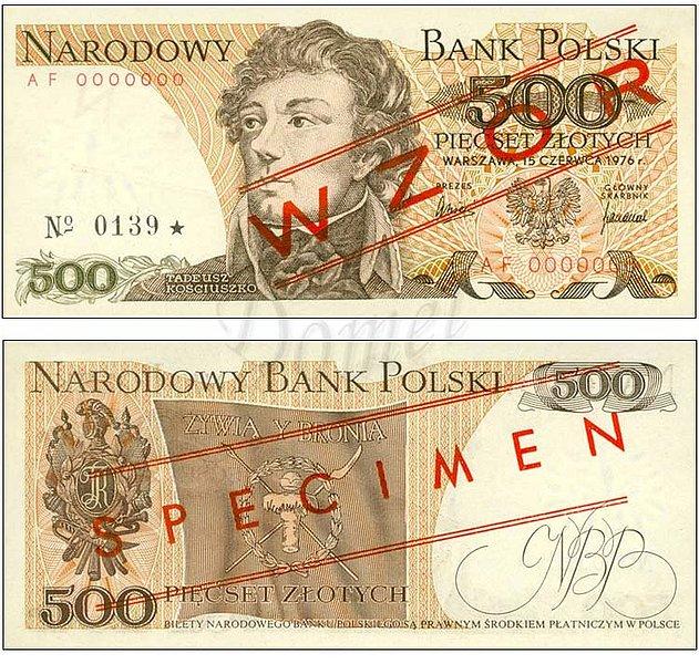 Wzór 500 złotych 1976 z Tadeuszem Kościuszko