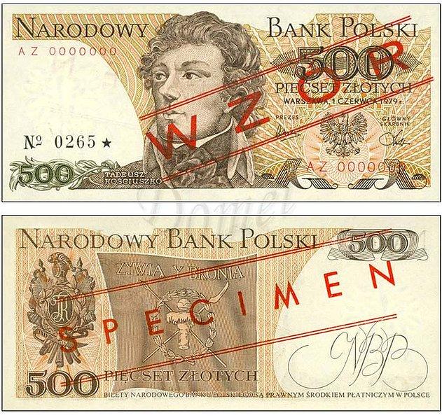 Wzór 500 złotych 1979 z Tadeuszem Kościuszko