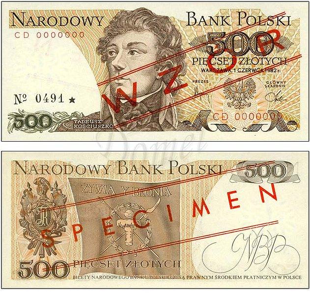 Wzór 500 złotych 1982 z Tadeuszem Kościuszko