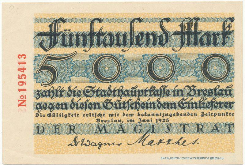 Notgeld 5000 marek 1923 Wrocław