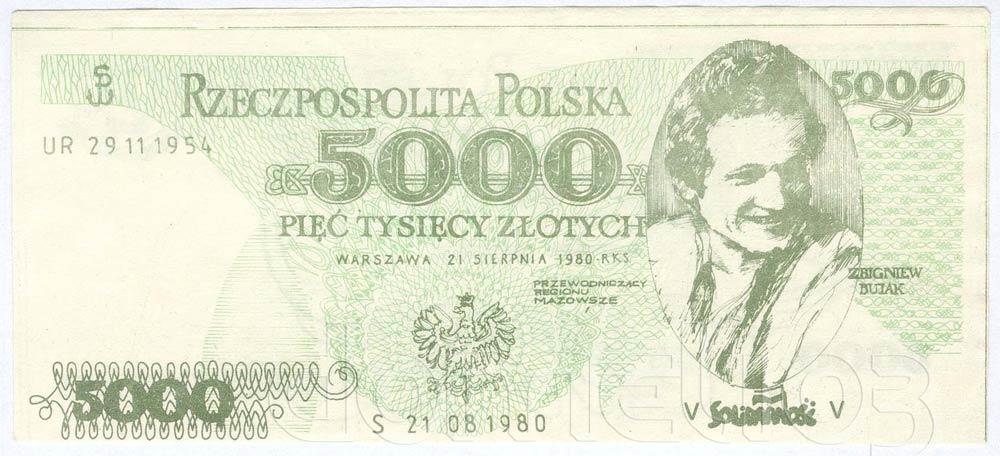 Awers 5000 złotych 1980 ze Zbigniewem Bujakiem
