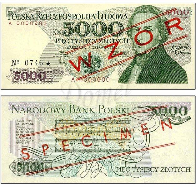 Wzór 5000 złotych 1982 z Fryderykiem Chopinem