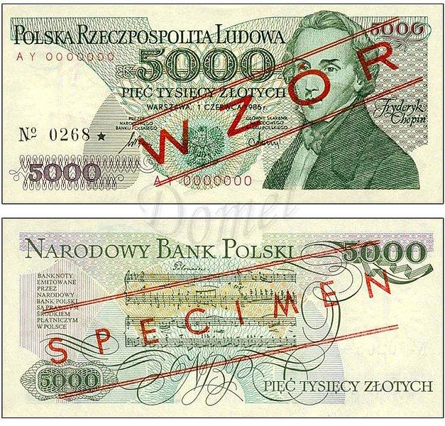 Wzór 5000 złotych 1986 z Fryderykiem Chopinem