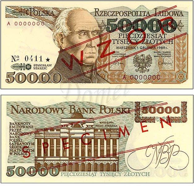 Wzór 50000 złotych 1989 z Stanisławem Staszicem