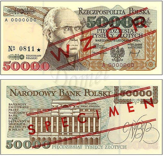 Wzór 50000 złotych 1993 z Stanisławem Staszicem