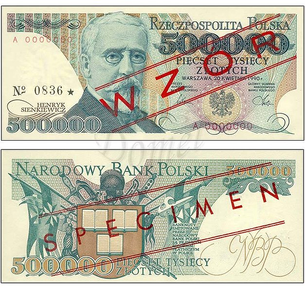 Wzór 500000 złotych 1990 z Henrykiem Sienkiewiczem