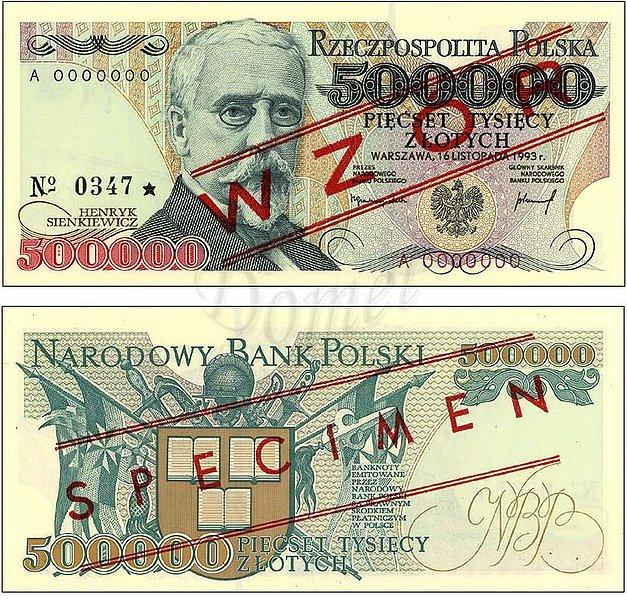 Wzór 500000 złotych 1993 z Henrykiem Sienkiewiczem