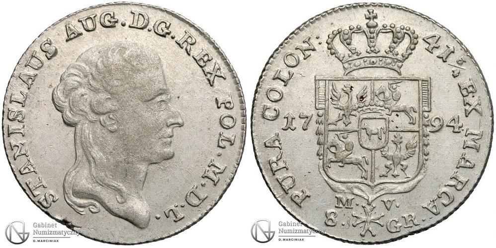 8 groszy 1794 ze Stanisławem Augustem Poniatowskim