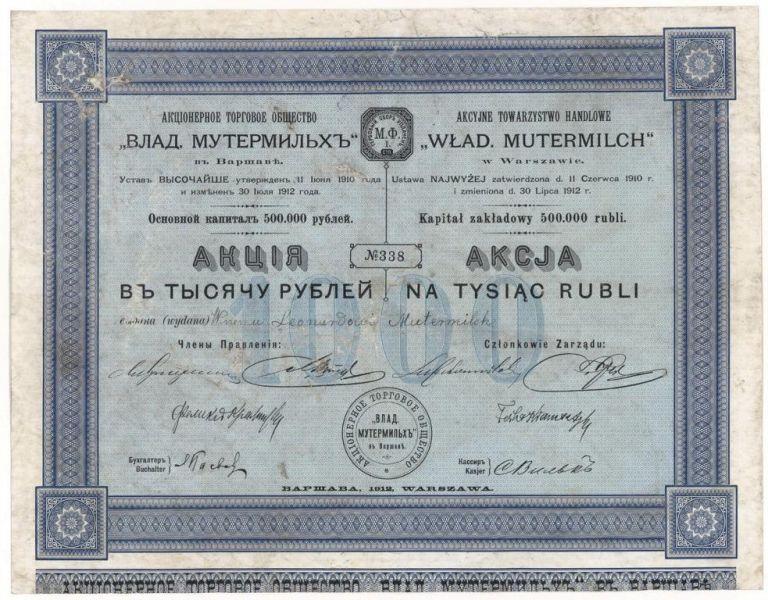 Akcja 1000 rubli Wład. Mutermilch Warszawa
