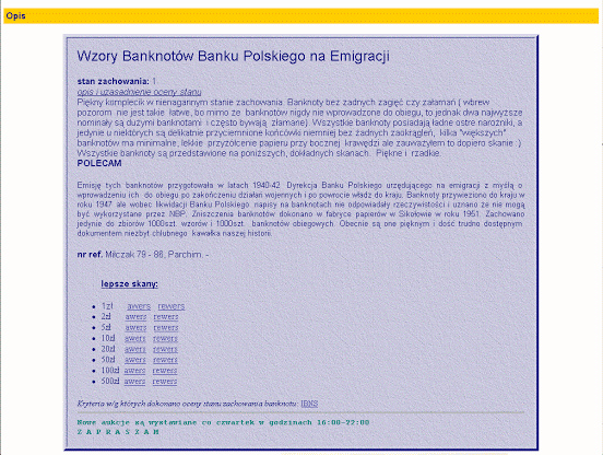Zrzut ekranu z archiwalnej aukcji banknotów emigracyjnych część 2