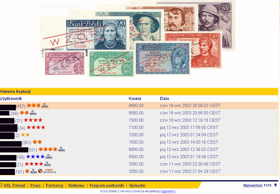 Zrzut ekranu z archiwalnej aukcji banknotów emigracyjnych część 3