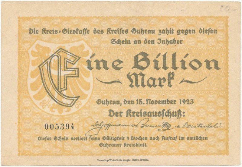 Notgeld 1 bilion marek 1923 powiatu Góry